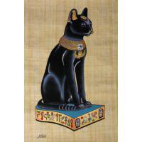 Chat Égyptien : Papyrus Déesse Bastet Noir