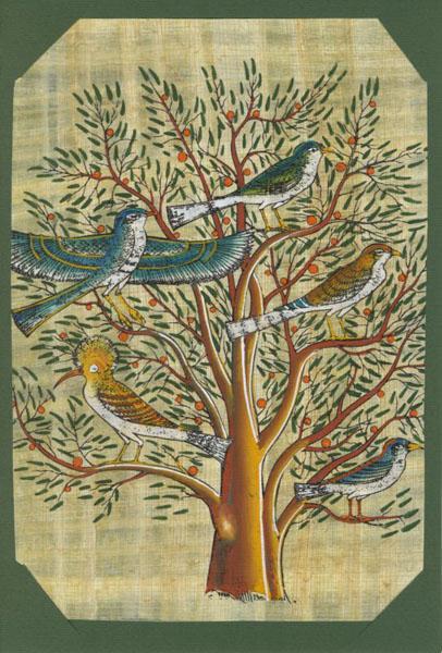 Artisanat d 39 egypte nos produits papyrus cartes de voeux papyrus - Signification arbre de vie ...