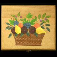 Boite À Thé Décor Panier De Fruits - 17Ko