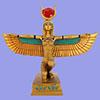 Statuette De La Déesse Isis-Hathor Ailée Dorée
