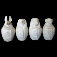 4 Vases Canopes En Albatre Reconstitué - 28Ko