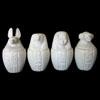 4 Vases Canopes En Albatre Reconstitué