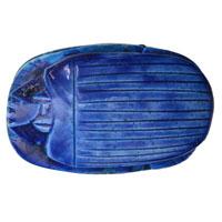 Scarabée Bleu En Céramique Gravé Avec Hiéroglyphes - 14Ko