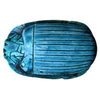 Scarabée Bleu Turquoise En Céramique Gravé Avec Hiéroglyphes - 16Ko