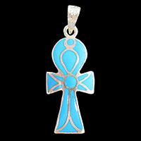 Bijoux Pharaonique Croix Ankh Avec Incrustation Turquoise - 21Ko