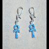 Bijoux Boucles D'oreille Ankh : Croix De Vie En Argent Avec Incrustation Turquoise