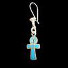 Bijoux Boucles D'oreille Ankh : La Croix De Vie En Argent Avec Incrustation Turquoise