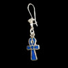 Bijoux Boucles D'oreille Ankh : La Croix De Vie En Argent Avec Incrustation Lapis-Lazuli