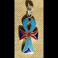 Bijoux Pharaonique Croix Ankh Avec Incrustation Turquoise, Lapis-Lazuli Et Cornaline - 45Ko