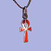 Bijoux Pharaonique Croix Ankh Avec Incrustation Cornaline