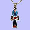 Bijoux Pharaonique Croix Ankh Avec Incrustation Turquoise, Lapis-Lazuli Et Cornaline