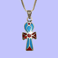 Bijoux Pharaonique Croix Ankh Avec Incrustation Turquoise, Lapis-Lazuli Et Cornaline - 27Ko
