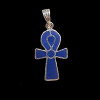 Bijoux Pharaonique Croix Ankh En Argent Double Face Avec Incrustation Cornaline Sur Un Coté Et Lapis-Lazuli De L'autre. - 27Ko
