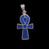 Bijoux Croix Ankh En Argent Double Face Avec Incrustation Turquoise Sur Un Coté Et Lapis-Lazuli De L'autre.