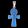 Bijoux Croix Ankh En Argent Double Face Avec Incrustation Turquoise, Lapis-Lazuli Et Cornaline Sur Un Coté Et Turquoise De L'autre.