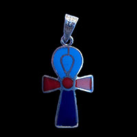 Bijoux Pharaonique Croix Ankh En Argent Double Face Avec Incrustation Turquoise, Lapis-Lazuli Et Cornaline Sur Un Coté Et Turquoise De L'autre. - 27Ko