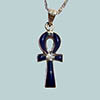 Bijoux Croix Ankh En Argent Avec Incrustation Lapis-Lazuli