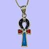 Bijoux Croix Ankh En Argent Avec Incrustation Turquoise, Lapis-Lazuli Et Cornaline