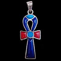 Bijoux Pharaonique Croix Ankh En Argent Avec Incrustation Turquoise, Lapis-Lazuli Et Cornaline - 30Ko
