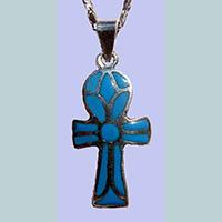 Bijoux Pharaonique Croix Ankh Avec Incrustation Turquoise - 29Ko