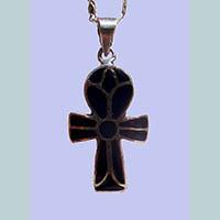 Bijoux Pharaonique Croix Ankh En Argent Avec Incrustation Lapis-Lazuli - 27Ko
