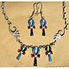 Parure Croix Ankh En Argent Avec Incrustation Turquoise, Lapis-Lazuli Et Cornaline