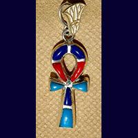 Bijoux Pharaonique Croix Ankh En Argent Avec Incrustation Turquoise, Lapis-Lazuli Et Cornaline - 41Ko