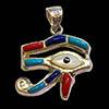 Bijoux Oeil D'Horus (Oudjat) En Argent Avec Incrustation Lapis-Lazuli, Turquoise, Cornaline Et Nacre
