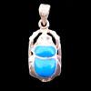 Bijoux Scarabée Bleu Turquoise En Argent