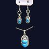 Bijoux Parure Pendentif Et Boucles D'oreilles Scarabée Bleu Turquoise En Argent