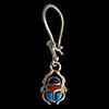 Bijoux Boucles D'oreille Scarabée En Argent Avec Incrustation Turquoise, Cornaline Et Lapis-Lazuli