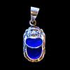 Bijoux Scarabée Agate Bleu En Argent