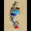 Bijoux Profil De Néfertiti En Argent Avec Incrustation Cornaline Sur Un Profil Et Avec Incrustation Corail Sur L'autre Profil
