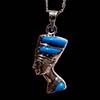 Bijoux Profil De Néfertiti En Argent Avec Incrustation Turquoise Sur Un Profil Et Avec Incrustation Cornaline Sur L'autre Profil
