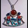 Bijoux Barque De L'Oeil D'Horus (Oudjat) En Argent Avec Incrustation Lapis-Lazuli, Turquoise Et Cornaline
