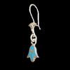 Bijoux Boucles D'oreille Lotus  Avec Incrustation Turquoise