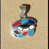 Bijoux Pendentif Oeil D'Horus (Oudjat) En Argent Avec Incrustation Turquoise, Lapis-Lazuli, Cornaline Et Nacre