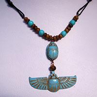 Collier Pendentif Amulette Des Deux Scarab�es