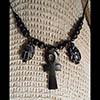 Pendentif Amulette Ankh Et Scarabées  En Steatite