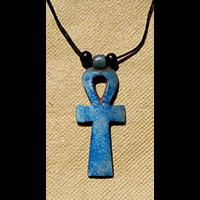 Bijoux Pharaonique Pendentif Amulette Ankh En Stéatite - 40Ko