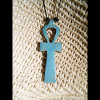 Bijoux Pharaonique Pendentif Amulette Ankh En Stéatite - 60Ko