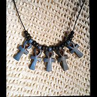Bijoux Pharaonique Pendentif De 5 Amulettes Ankh En Stéatite - 67Ko