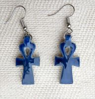 Boucle D'oreille  Ankh  En Stéatite Bleu Ceramique