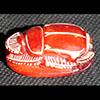 Scarabée En Stéatite Gravé Avec Hiéroglyphes Rouge