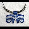 Pendentif Amulette Oeil D'Horus En Stéatite Bleu Ceramique
