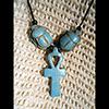 Collier Des 3 Amulettes:  Clé Ankh Entourée De 2 Scarabées