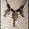 Collier Des 3 Amulettes:  Clé Ankh Entouré De 2 Piliers Djed
