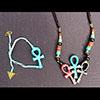 Parure: Bracelet Amulette Ankh Turquoise Et Pendentif De 3 Amulettes Ankh