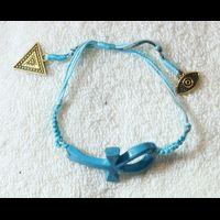 Bracelet Amulette Ankh Turquoise En Résine, Montage Cuivre Et Pierre, Création Artisanale Lili Lotus Au Caire - 23Ko