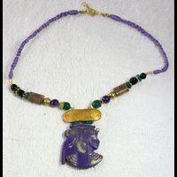 Bijoux Pharaonique Pendentif Nefertari En Résine, Montage Cuivre Et Pierre, Création Artisanale Lili Lotus Au Caire - 23Ko